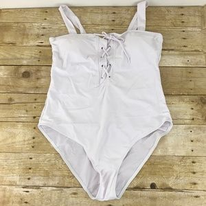 Zaful White Lace up 1 pc Swimsuit NEW
